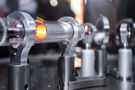 Michelson optical interferometer with the laser beam reflecting off the gas molecules in the device's chamber. Stock fotó
