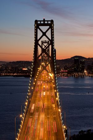 brige: El cnetro de la Bah�a de San Francisco al atardecer  Foto de archivo