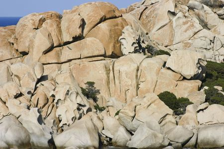 Unusual rock formations of Capo Testa in the evening light, Sardinia, Italy, Europe Stock Photo