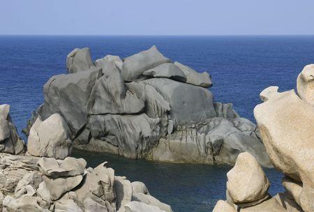 Unusual rock formation at Capo Testa, Sardinia, Italy, Europe Stock Photo