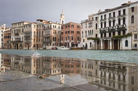 Grand Canal near Rialto Bridge on a rainy day, Venice, Italy, Europe