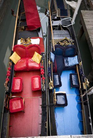 Two gondolas in winter, Venice, Italy, Europe
