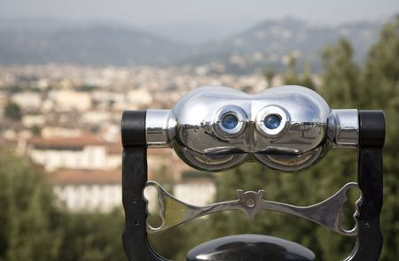 An Italian beauty, binoculars with a view on Florence, Italy, Europe