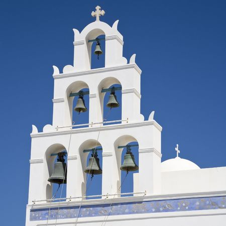 Typical white bell tower on the island of Santorini, Cyclades, Greece, Europe