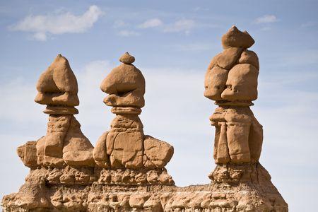 Three hoodoos, Goblin Valley State Park, central Utah, USA