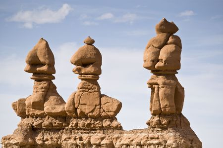 hoodoos: Three hoodoos, Goblin Valley State Park, central Utah, USA