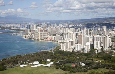 Waikiki seen from the top of Diamond Head, Oahu, Hawaii, United States of America Stock Photo