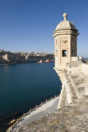 The Gardjola at the fortified city of Senglea, L-Isla in Maltese, Civitas Invicta, Grand Harbour, Malta, Europe Stock Photo