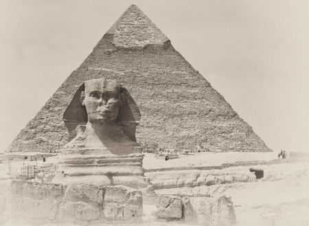 The Great Sphinx of Giza with the Pyramid of Khafre in the background, Arab Republic of Egypt, North Africa
