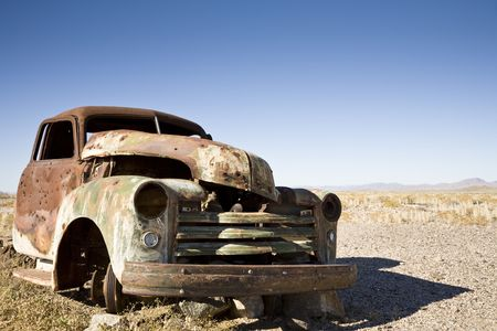 abandoned car: Car wreck somewhere in the desert of Namibia, Africa
