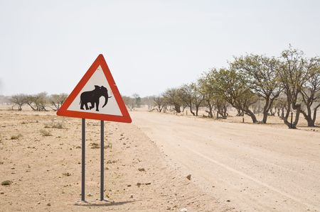 Caution Elephants! Road sign, Namibia, Africa