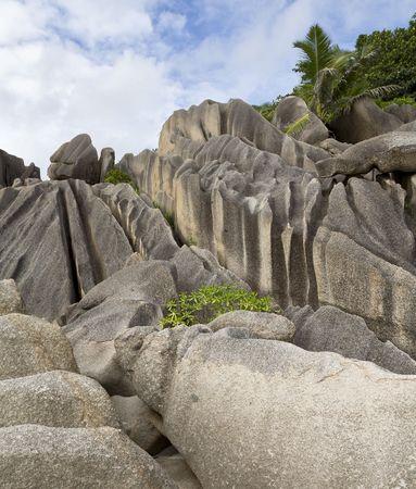 Typical granite rocks on the island of La Digue, Seychelles, Indian Ocean