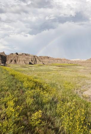 Badlands Wilderness with rainbow, Badlands National Park, South Dakota, United States