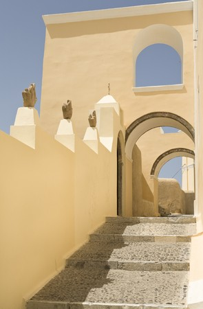 Typical alley on the island of Santorini, Cyclades, Greece, Southern Europe Stock Photo