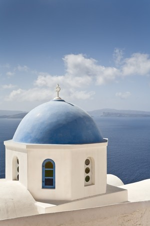 White church with blue dome, Santorini, Cyclades, Europe Stock Photo