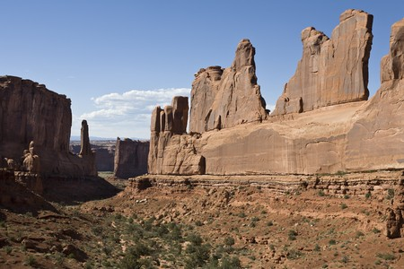 Rock Formation along Park Avenue, Arches National Park, Utah, United States Stock Photo