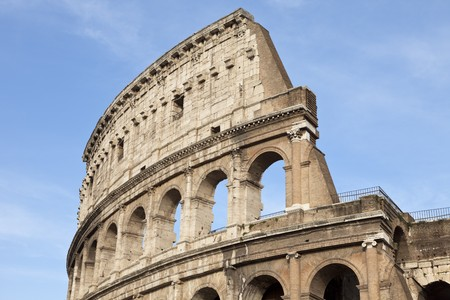 Part of the elliptical amphitheatre in the centre Rome, the Colosseum, Italy, Southern Europe