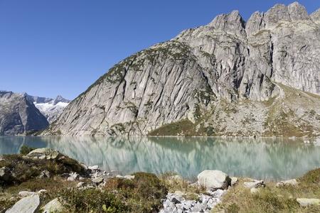 Gelmersee or Lake Gelmer, a hydroelectric reservoir, Grimsel, Bernese Oberland, The Alps, Switzerland, Europe