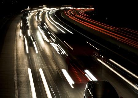 Crowded highway at night, Berne, Switzerland, Europe