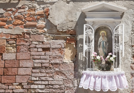 Shrine in a small alley, Venice, Italy, Europe