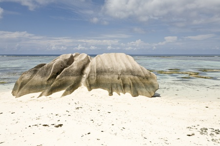 Eroded rock on the beach, La Digue, Republic of Seychelles, Indian Ocean photo