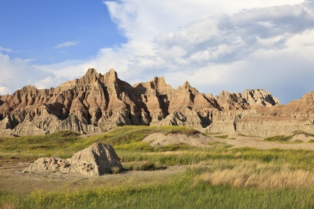 Eroded buttes, Badlands National Park, South Dakota, USA