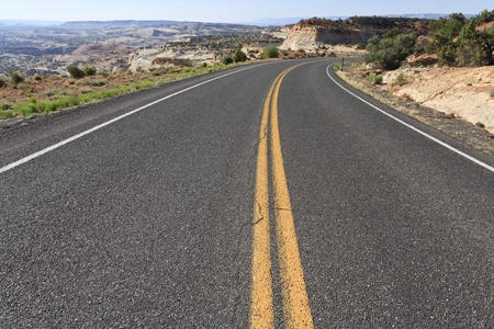 On a winding road in Utah, USA