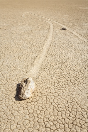 Two famous and mysterious Sailing Stones on the Racetrack Playa, Death Valley National Park, California, USA Stock Photo