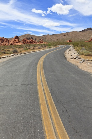Winding road in Valley of Fire State Park, Nevada, USA