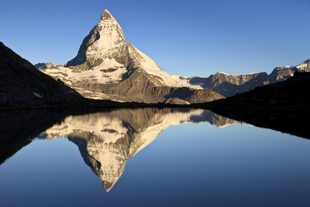 First light on the Matterhorn, one of the most beautiful icons of Switzerland, Pennine Alps, Switzerland, Europe