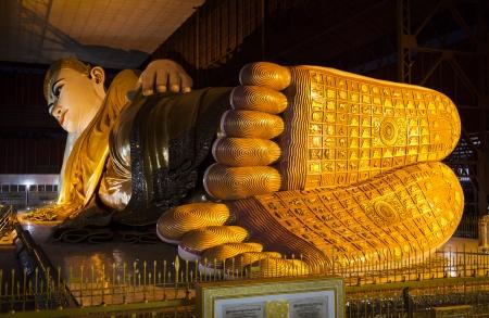 The Reclining Buddha in Chauk Htat Kyi Pagoda, Yangon, Myanmar, Southeast Asia