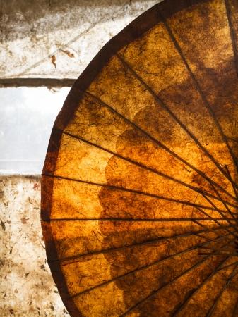 The beautiful texture of a backlit umbrella, Myanmar, Burma, Southeast Asia Stock Photo