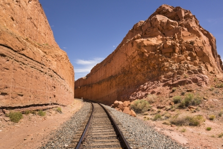 Railroad track in the Southwestern United States, Utah, USA