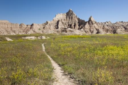 On a trail in Badlands National Park, southwestern South Dakota, USA Stock Photo