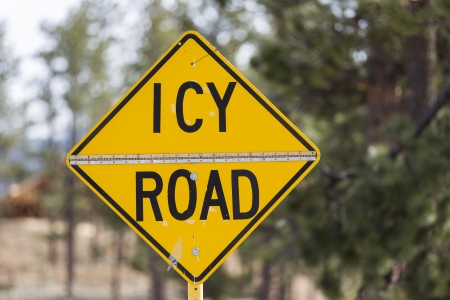 Yellow warning sign, Icy Road, United States