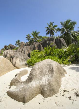Granite rocks on the island of La Digue, Seychelles, Indian Ocean