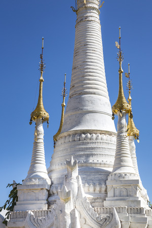Part of a white pagoda at Indein, Myanmar, Burma, Southeast Asia Stock Photo