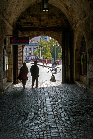 Nis, Serbia - October 14, 2018: Medieval fortress in Nis-Serbia.  View trough main entrance. Editorial