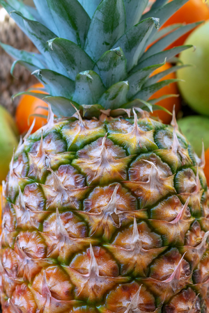 Pineapple fruit background. Close up of tropical pineapples texture