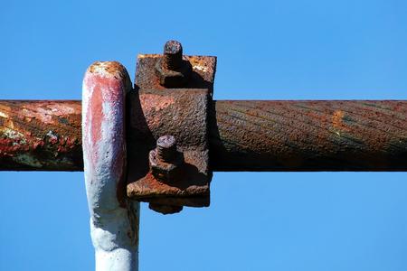 Rusty steel cable of bridge pylon