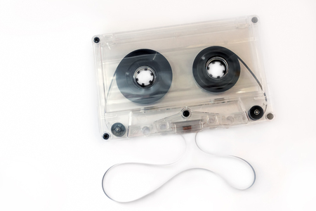 audio compact cassette with transparent body, and unwinded tape