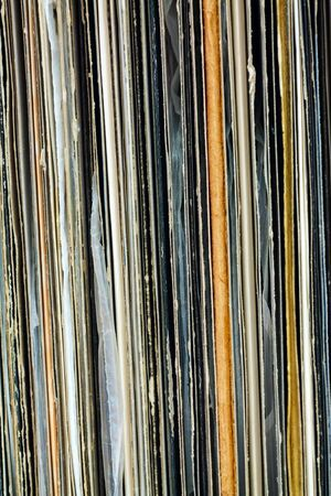 Stack of old vinyl records - back side of l collection