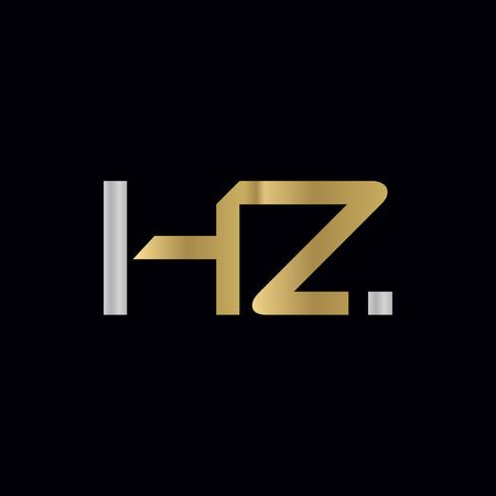 HZ Logo Design Vector Template. Initial Linked Letter HZ Vector Illustration Logó