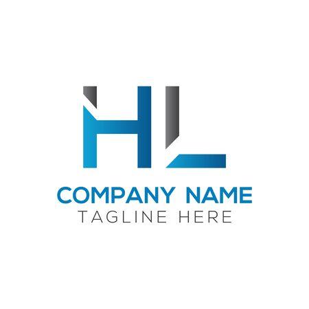 HL Logo Design Vector Template. Initial Linked Letter HL Vector Illustration