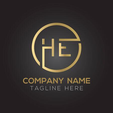 HE Logo Design Vector Template. Initial Linked Letter HE Vector Illustration