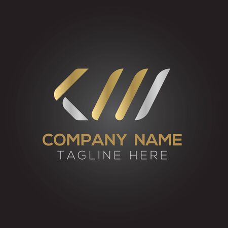 Initial ALphabet KM or KW Logo Design vector Template. Abstract Letter KM or KW Linked Logo Logó