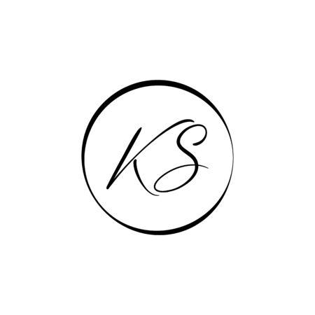 Initial ALphabet KS Logo Design vector Template. Abstract Letter KS Linked Logo