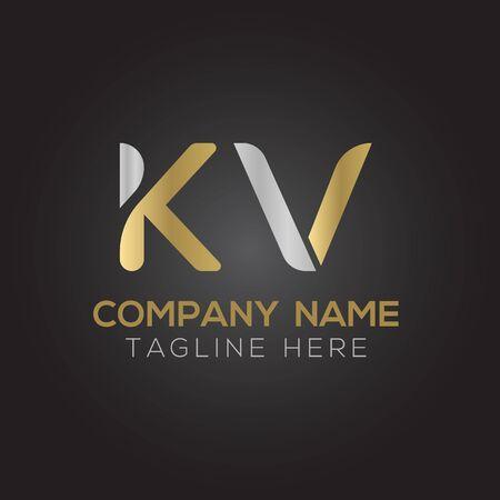 Initial ALphabet KV Logo Design vector Template. Abstract Letter KV Linked Logo