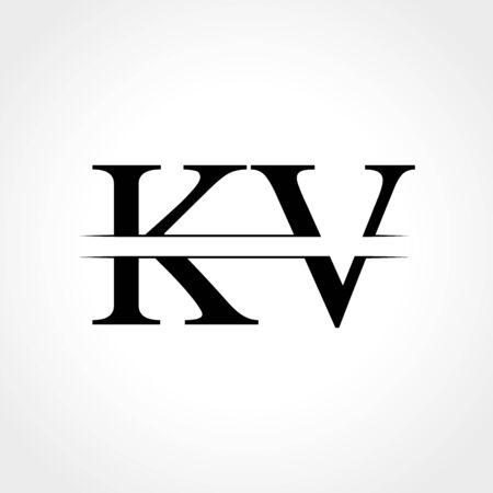 Initial KV letter Logo Design vector Illustration. Abstract Letter KV logo Design Logó