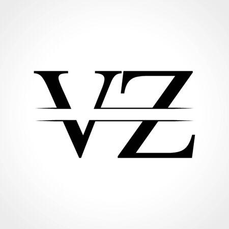 Creative Letter VZ Logo Vector Template With Black Color. VZ Logo Design Logó